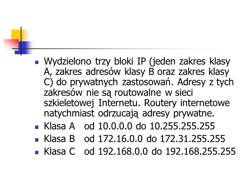 Wydzielono trzy bloki IP (jeden zakres klasy A, zakres adresów klasy B oraz zakres klasy C) do prywatnych zastosowań. Adresy z tych zakresów nie są routowalne w sieci szkieletowej Internetu. Routery internetowe natychmiast odrzucają adresy prywatne.