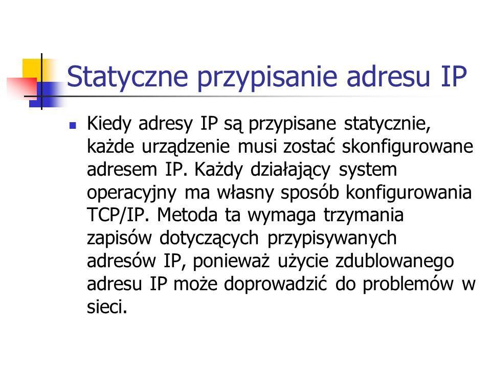 Statyczne przypisanie adresu IP