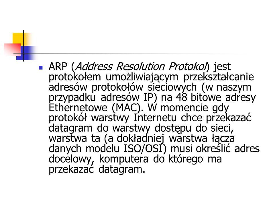 ARP (Address Resolution Protokol) jest protokołem umożliwiającym przekształcanie adresów protokołów sieciowych (w naszym przypadku adresów IP) na 48 bitowe adresy Ethernetowe (MAC).