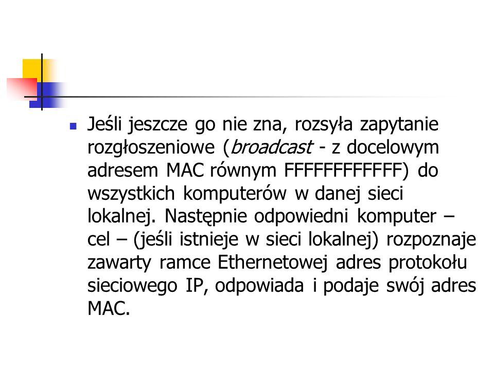 Jeśli jeszcze go nie zna, rozsyła zapytanie rozgłoszeniowe (broadcast - z docelowym adresem MAC równym FFFFFFFFFFFF) do wszystkich komputerów w danej sieci lokalnej.