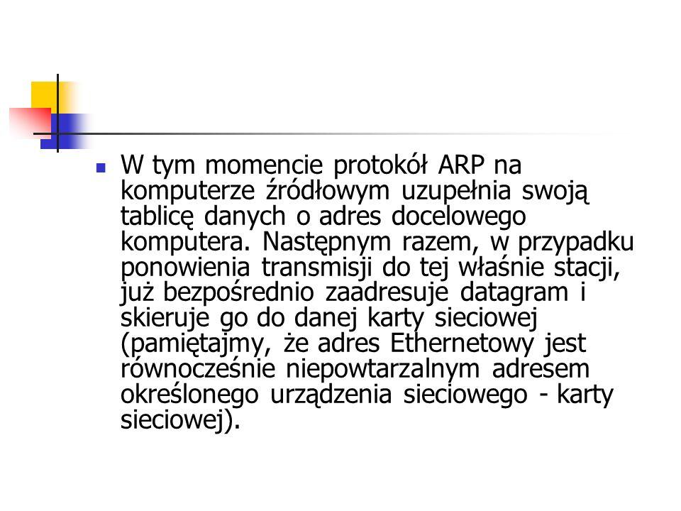 W tym momencie protokół ARP na komputerze źródłowym uzupełnia swoją tablicę danych o adres docelowego komputera.