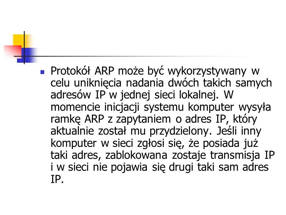 Protokół ARP może być wykorzystywany w celu uniknięcia nadania dwóch takich samych adresów IP w jednej sieci lokalnej.