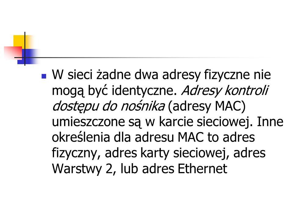 W sieci żadne dwa adresy fizyczne nie mogą być identyczne