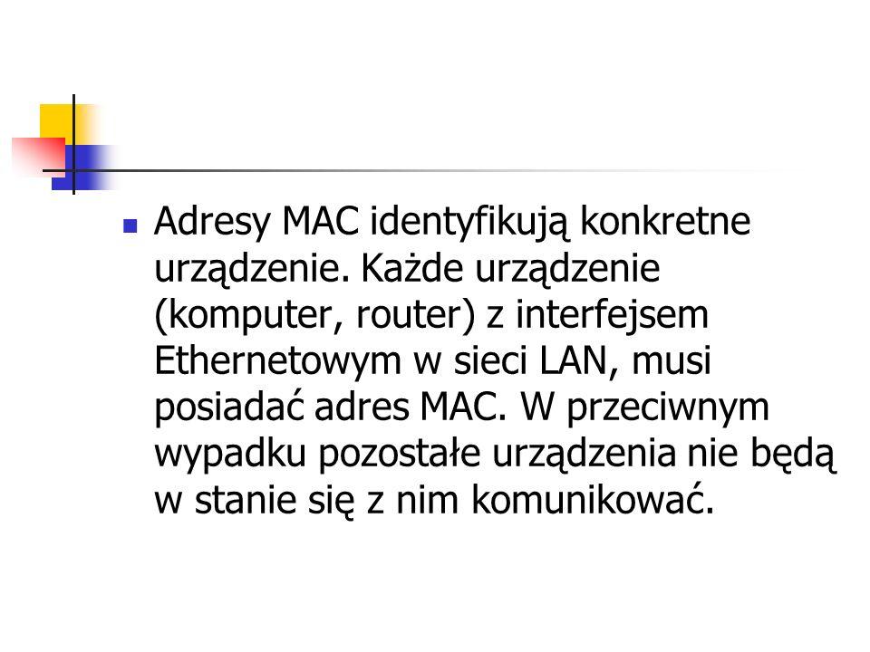 Adresy MAC identyfikują konkretne urządzenie