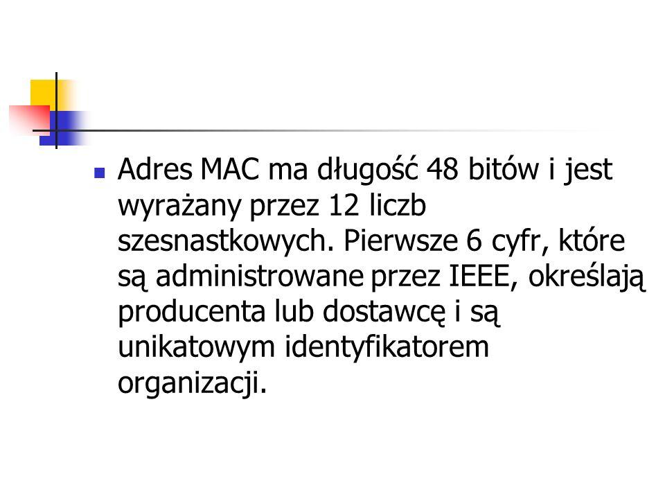 Adres MAC ma długość 48 bitów i jest wyrażany przez 12 liczb szesnastkowych.