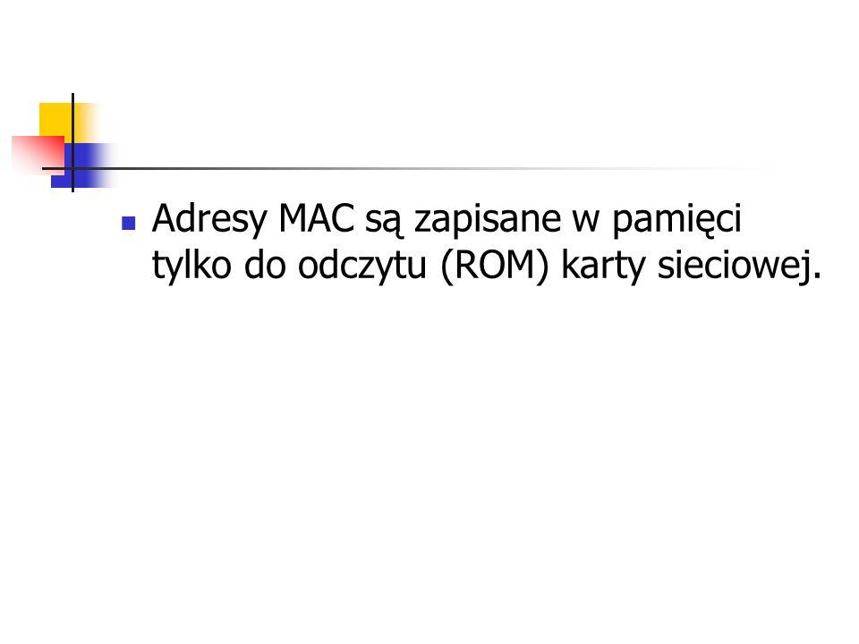 Adresy MAC są zapisane w pamięci tylko do odczytu (ROM) karty sieciowej.