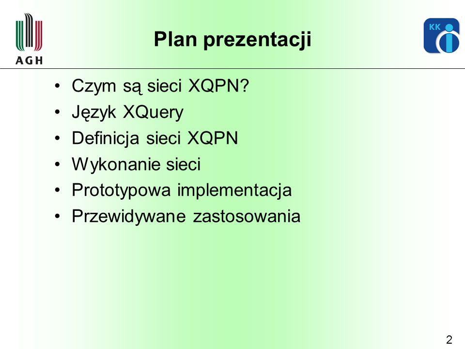 Plan prezentacji Czym są sieci XQPN Język XQuery Definicja sieci XQPN