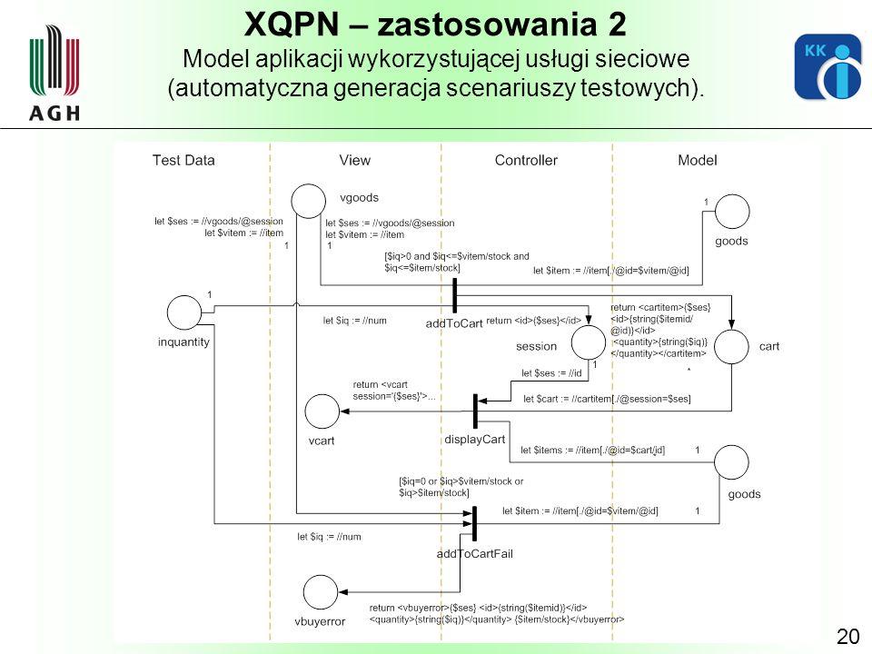 XQPN – zastosowania 2 Model aplikacji wykorzystującej usługi sieciowe (automatyczna generacja scenariuszy testowych).