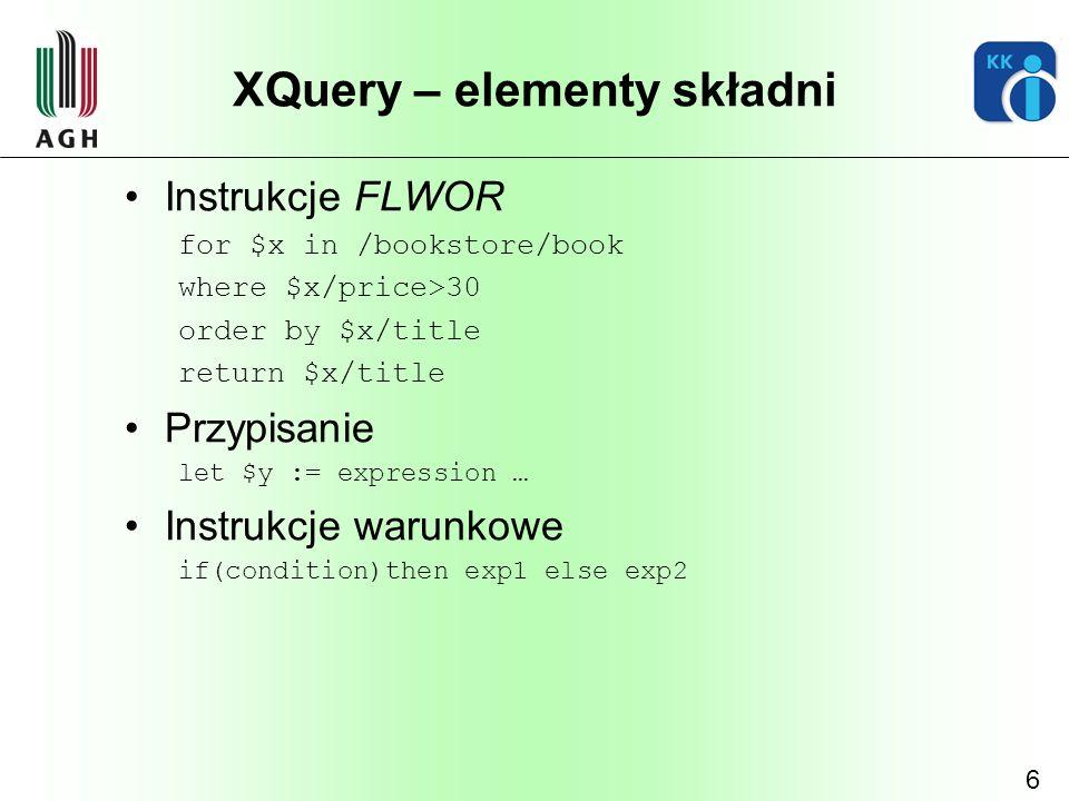 XQuery – elementy składni