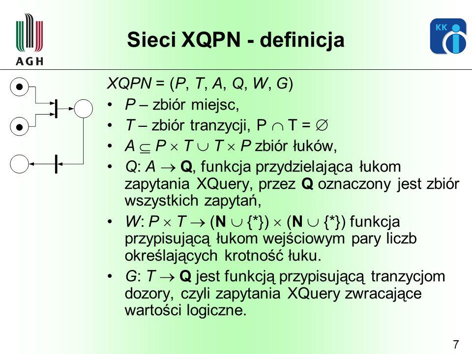 Sieci XQPN - definicja XQPN = (P, T, A, Q, W, G) P – zbiór miejsc,