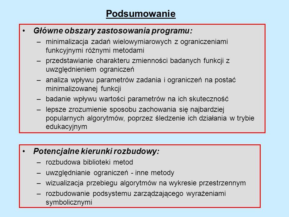 Podsumowanie Główne obszary zastosowania programu: