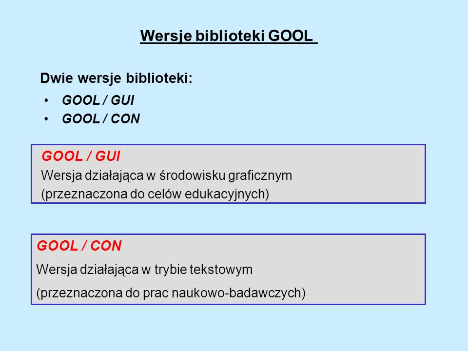 Wersje biblioteki GOOL