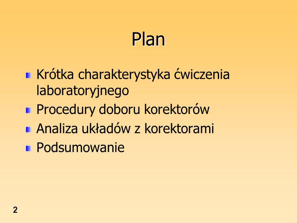 Plan Krótka charakterystyka ćwiczenia laboratoryjnego