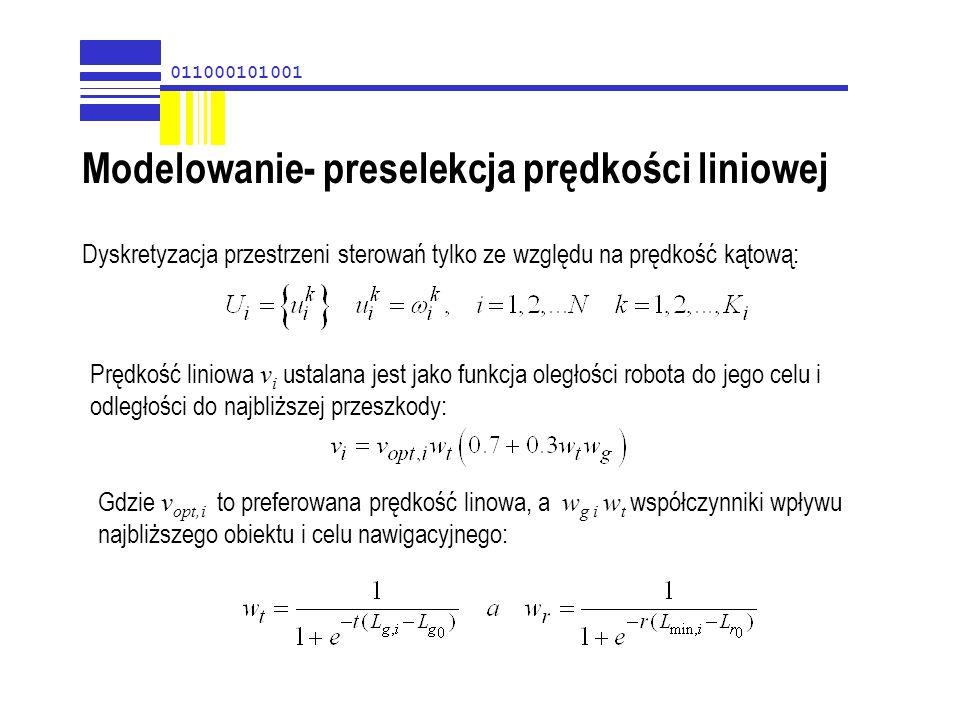 Modelowanie- preselekcja prędkości liniowej