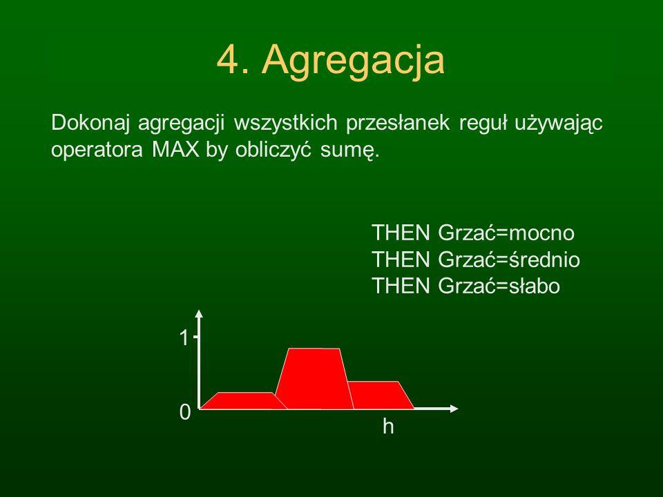 4. Agregacja Dokonaj agregacji wszystkich przesłanek reguł używając operatora MAX by obliczyć sumę.