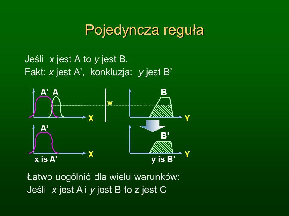 Pojedyncza reguła Jeśli x jest A to y jest B.