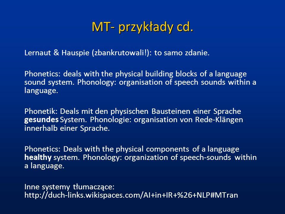 MT- przykłady cd. Lernaut & Hauspie (zbankrutowali!): to samo zdanie.
