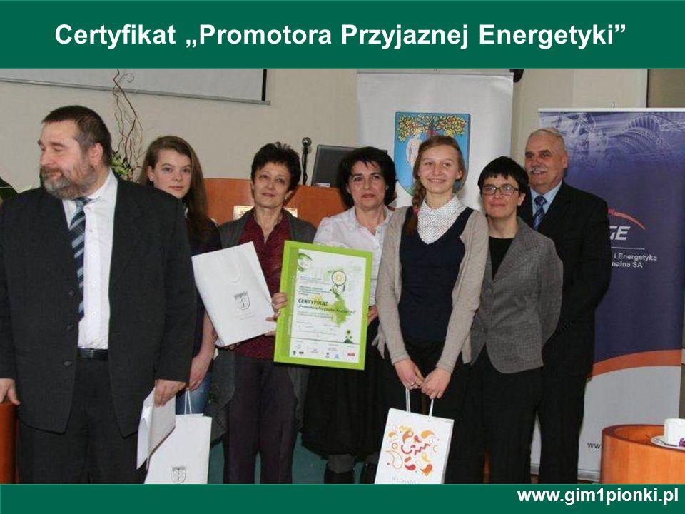 """Certyfikat """"Promotora Przyjaznej Energetyki"""