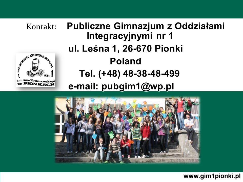 Kontakt: Publiczne Gimnazjum z Oddziałami Integracyjnymi nr 1