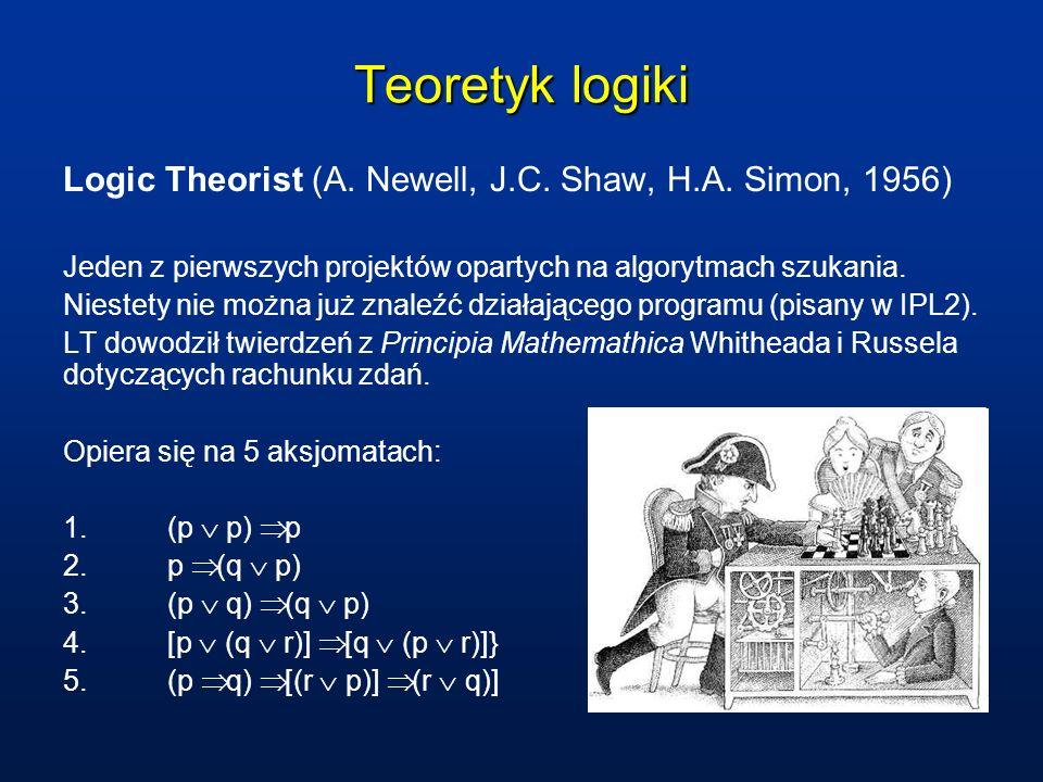 Teoretyk logiki Logic Theorist (A. Newell, J.C. Shaw, H.A. Simon, 1956) Jeden z pierwszych projektów opartych na algorytmach szukania.
