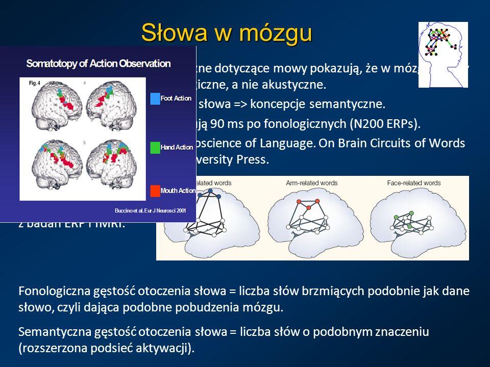Słowa w mózguEksperymenty psycholingwistyczne dotyczące mowy pokazują, że w mózgu mamy dyskretne reprezentacje fonologiczne, a nie akustyczne.