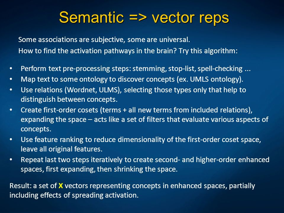 Semantic => vector reps