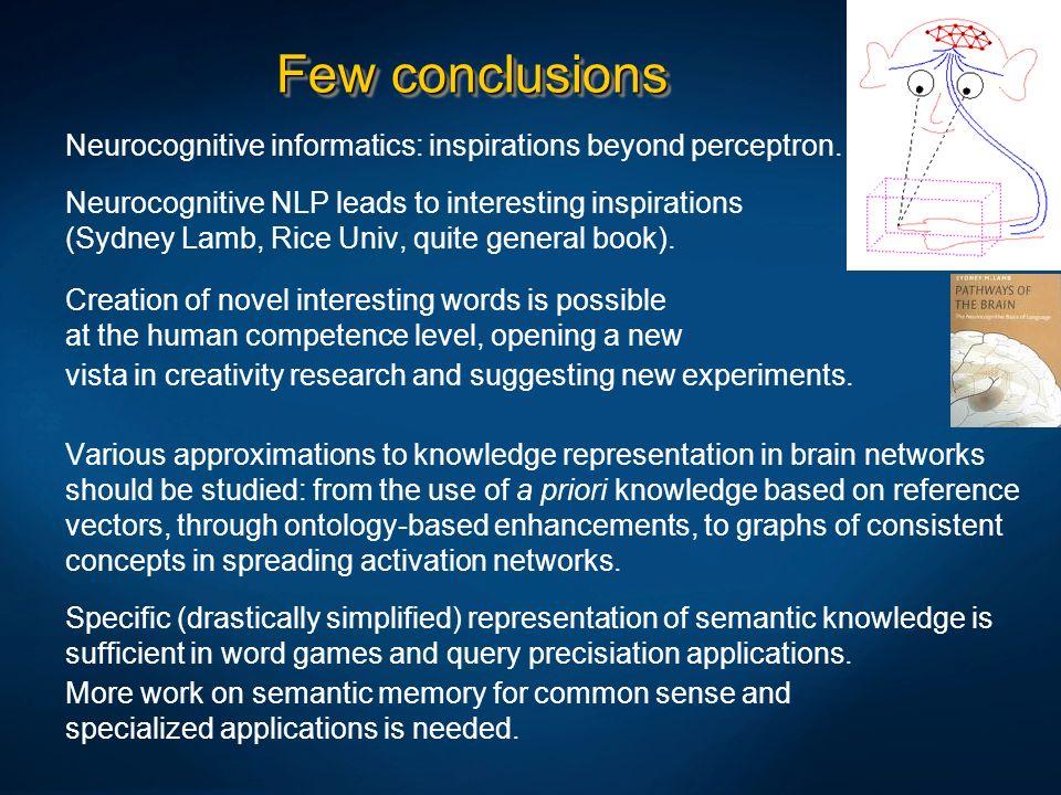Few conclusionsNeurocognitive informatics: inspirations beyond perceptron.