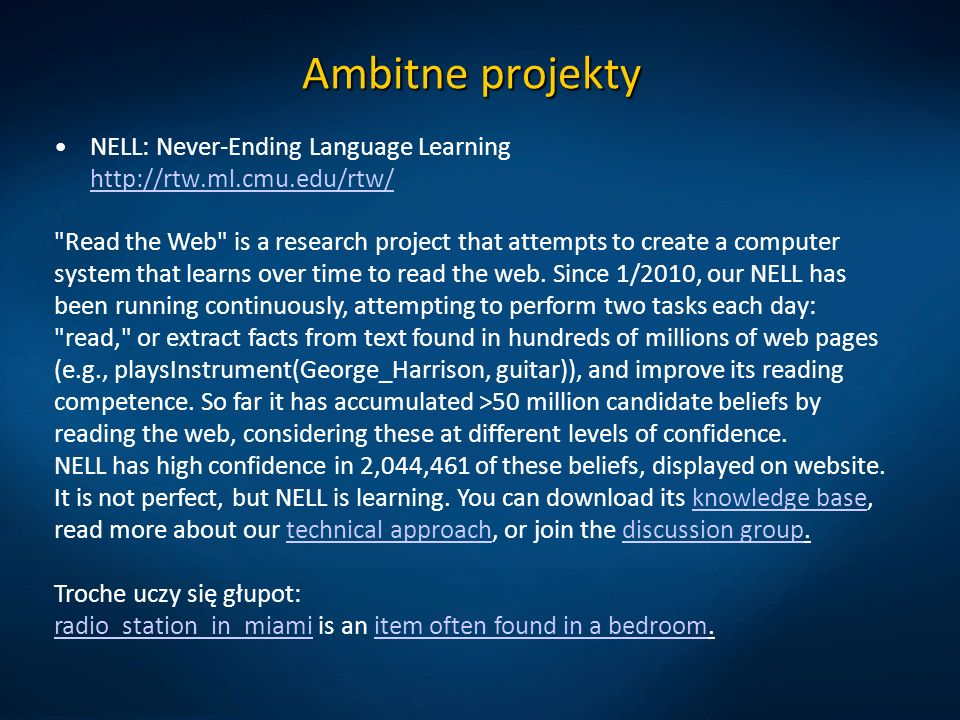 Ambitne projekty NELL: Never-Ending Language Learning