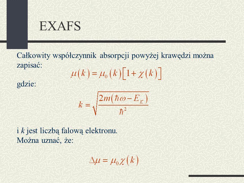 EXAFS Całkowity współczynnik absorpcji powyżej krawędzi można zapisać: