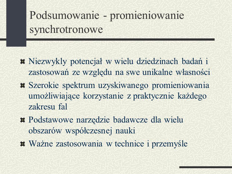 Podsumowanie - promieniowanie synchrotronowe