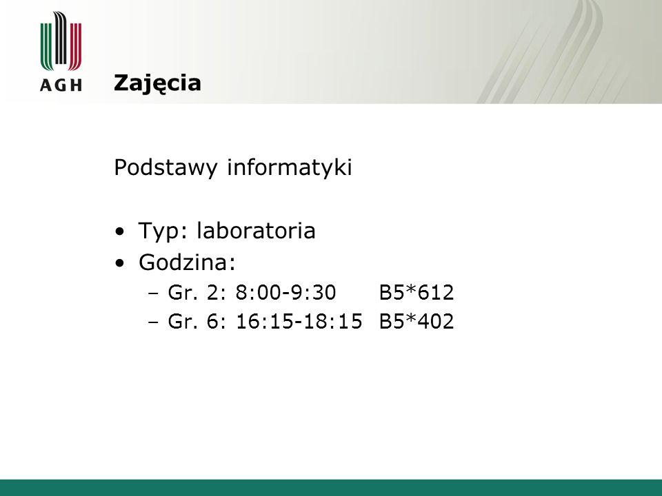 Zajęcia Podstawy informatyki Typ: laboratoria Godzina: