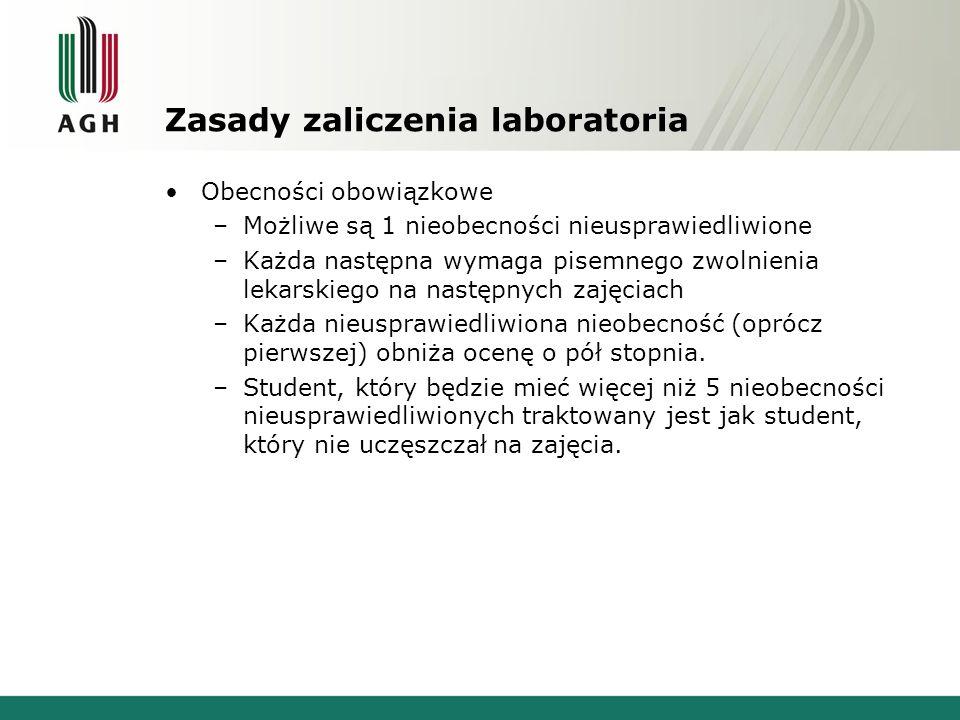 Zasady zaliczenia laboratoria