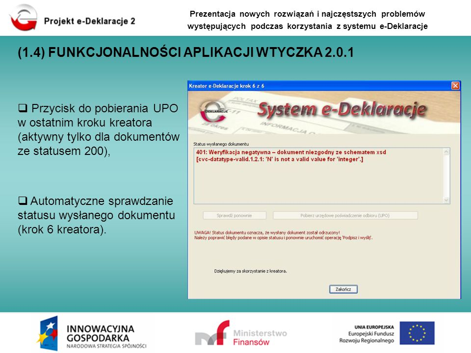 (1.4) FUNKCJONALNOŚCI APLIKACJI WTYCZKA 2.0.1