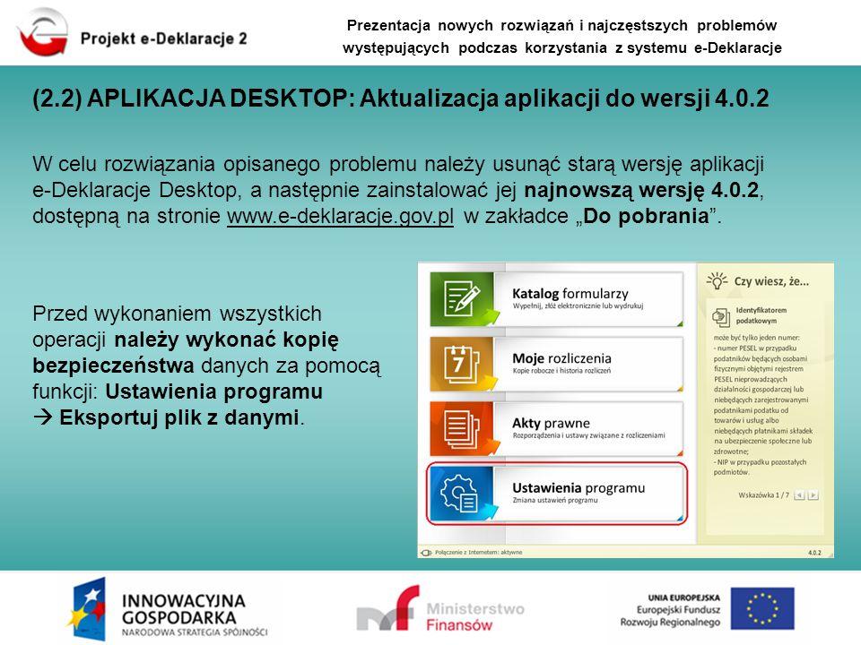 (2.2) APLIKACJA DESKTOP: Aktualizacja aplikacji do wersji 4.0.2