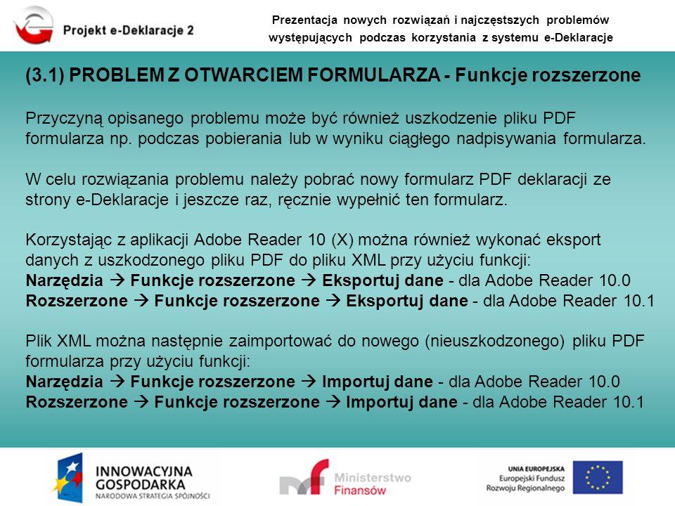 (3.1) PROBLEM Z OTWARCIEM FORMULARZA - Funkcje rozszerzone