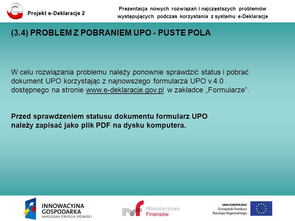 (3.4) PROBLEM Z POBRANIEM UPO - PUSTE POLA