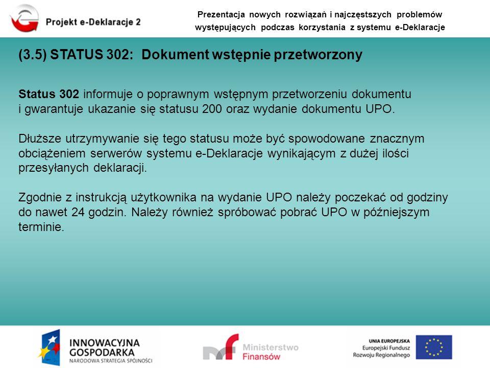 (3.5) STATUS 302: Dokument wstępnie przetworzony