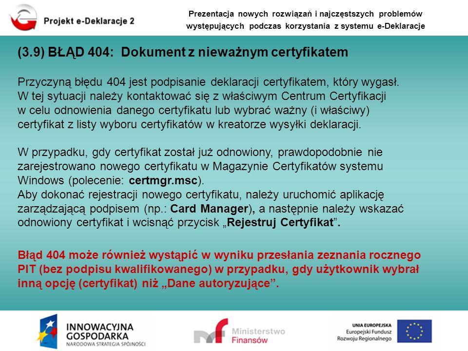 (3.9) BŁĄD 404: Dokument z nieważnym certyfikatem