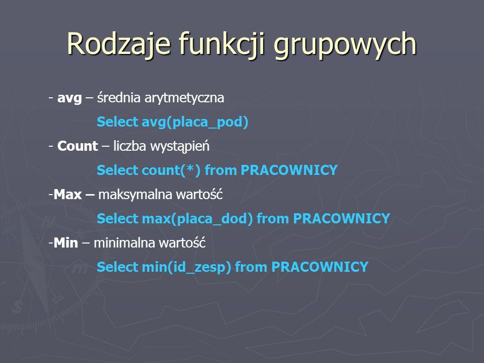 Rodzaje funkcji grupowych