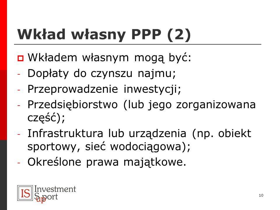 Wkład własny PPP (2) Wkładem własnym mogą być: