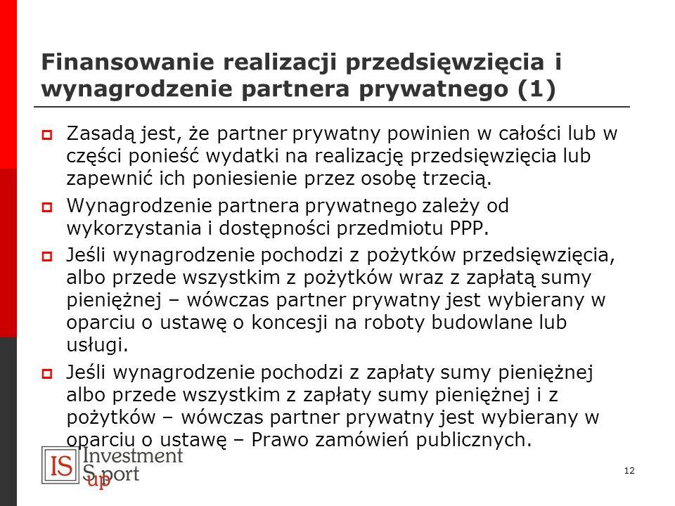 Finansowanie realizacji przedsięwzięcia i wynagrodzenie partnera prywatnego (1)