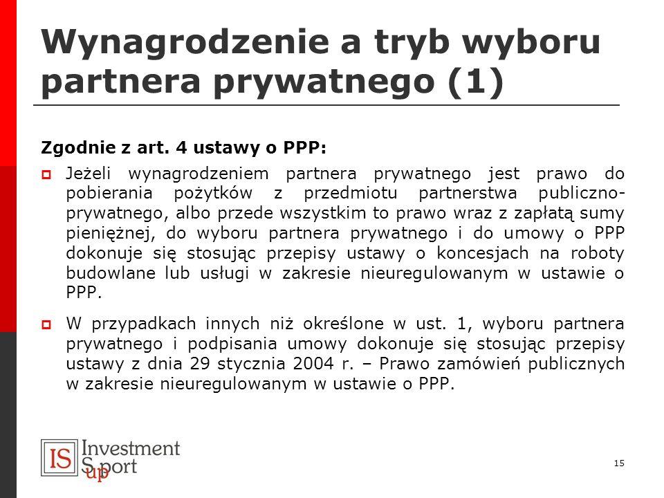Wynagrodzenie a tryb wyboru partnera prywatnego (1)