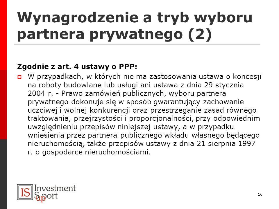 Wynagrodzenie a tryb wyboru partnera prywatnego (2)