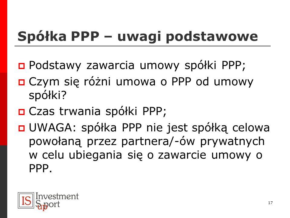 Spółka PPP – uwagi podstawowe