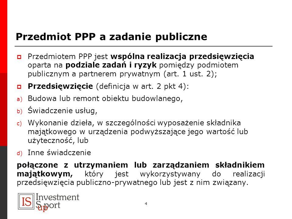 Przedmiot PPP a zadanie publiczne