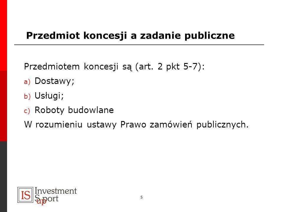 Przedmiot koncesji a zadanie publiczne