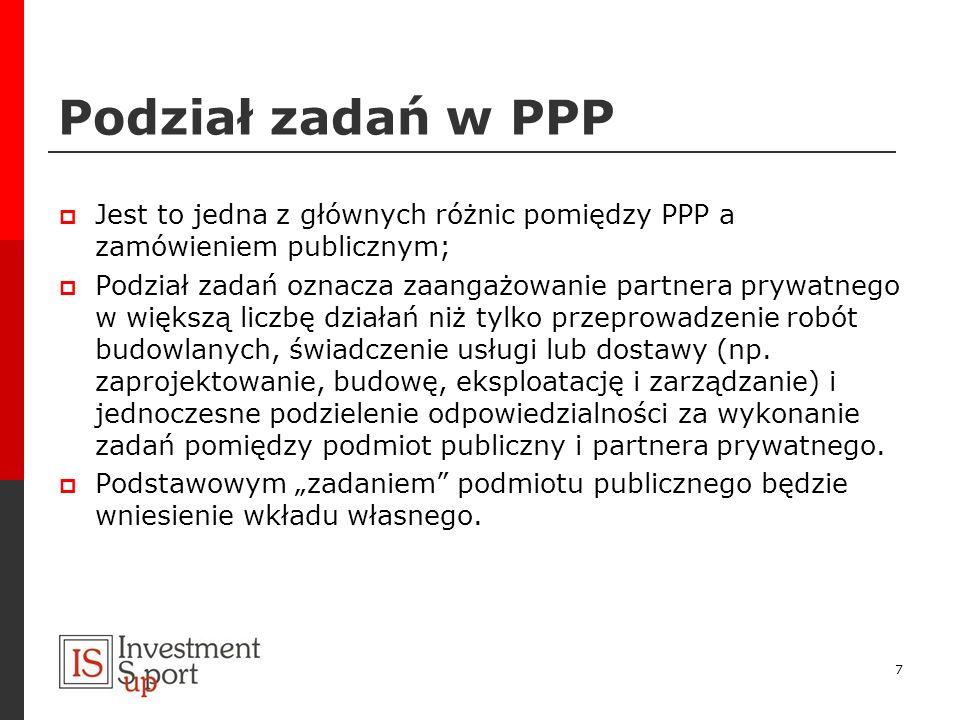 Podział zadań w PPPJest to jedna z głównych różnic pomiędzy PPP a zamówieniem publicznym;