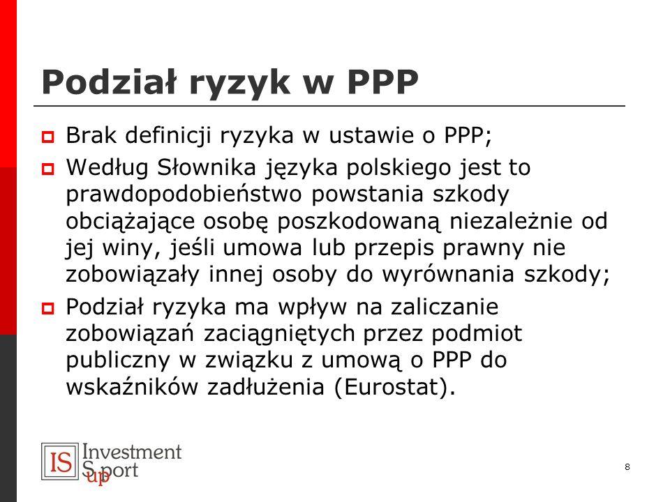 Podział ryzyk w PPP Brak definicji ryzyka w ustawie o PPP;