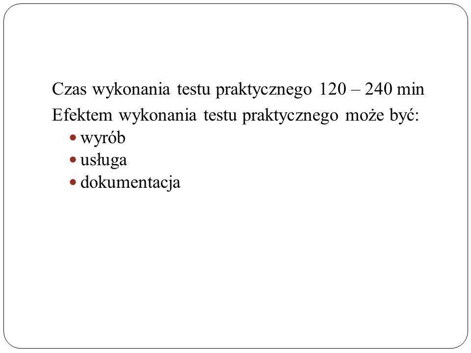 Czas wykonania testu praktycznego 120 – 240 min