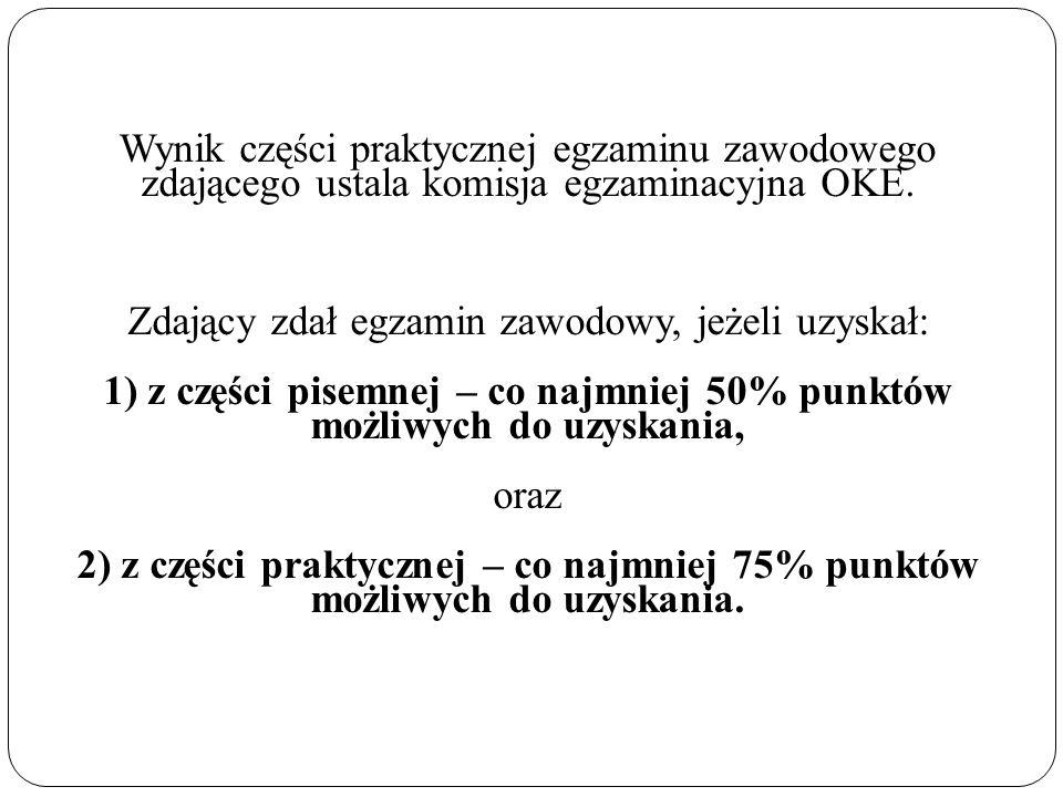 Wynik części praktycznej egzaminu zawodowego zdającego ustala komisja egzaminacyjna OKE.